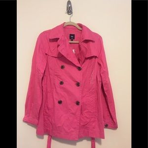 Gap Short Trench Coat in Bright Pink
